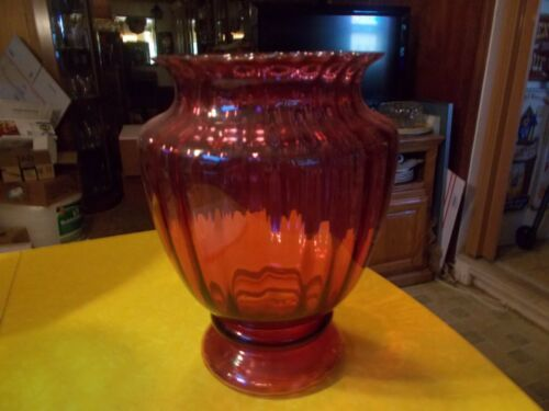 "Pilgrim Cranberry Art Glass, Hand Blown Vase 12 1/2""T Credo, W. VA"