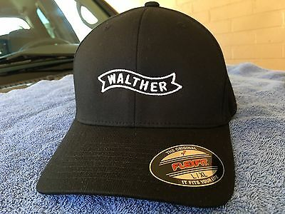 Walther Arms Logo Embroidered Flexfit Ball Cap Hat Black Olive Navy S/M L/XL 2X (Ball Cap Navy)