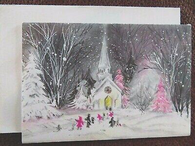 Vintage Christmas Card UNUSED Grey Sky PINK Tree People Going To Church (Grey Christmas Card)