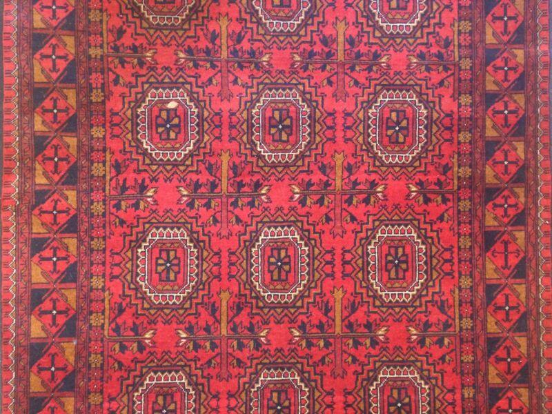 Amazing Afghan - 1960s Vintage Bokhara Rug - Tekke Gul Design - 5 X 6.3 Ft.