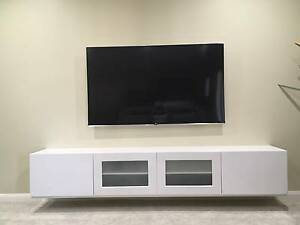 White Modern Floating TV Entertainment Unit Harrington Park Camden Area Preview