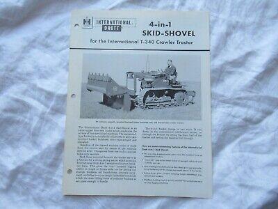 International Drott Skid Shovel Specification Sheet Brochure For T-340 Tractor