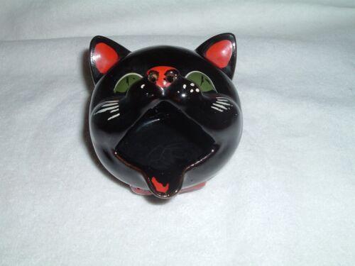 Vintage Redware Black Cat Head Ashtray by Napco