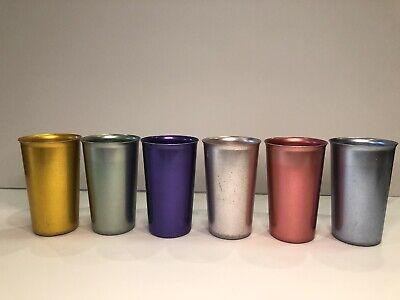 6 COLORFUL VINTAGE  ANOWARE ALUMINUM METAL DRINKING TUMBLERS MID-CENTURY SET