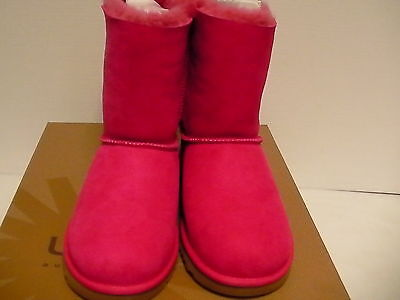 Kids ugg boots K bailey bow dark pink size 13 Youth new with box