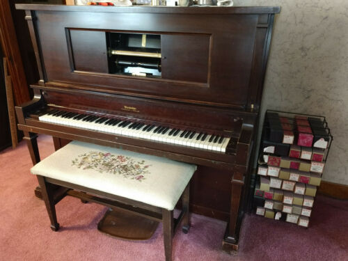 Modello Player piano, needlepoint bench, player rolls and stand