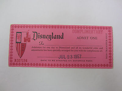 Vintage Disneyland Complimentary Admit One Admission Ticket 1957 Rare