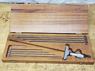 Starrett 0-9 Depth Micrometer No 440 In Wood Box