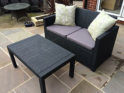 Garden Furniture - Allibert Merano Rattan Style Sofa Garden Furniture Set 5 Year Guarentee