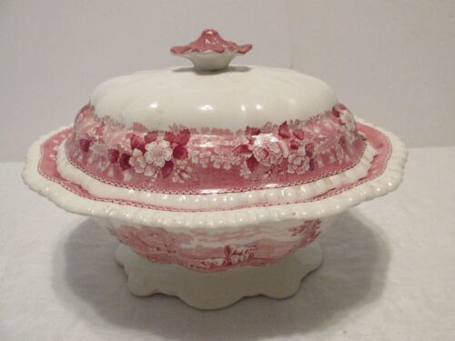 Adams ENGLISH SCENIC SOUP TUREEN & LID Pink Transferware Staffordshire Vintage