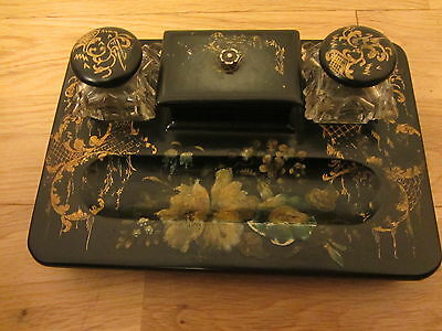 LACQURED PAPIER MACHE INK WELL DESK STAND PEN HOLDER