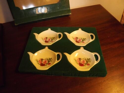 Vintage Formalities by Baum Brothers 4 pc Teabag Caddies/Spoon Rest w/Box