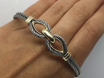 REDUCED!!! CONTEMPORARY STAINLESS STEEL CABLE & 18K YELLOW GOLD  -
