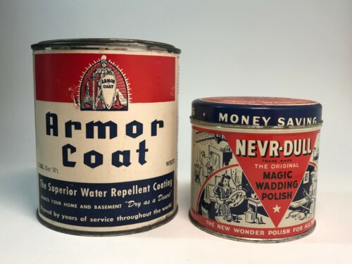 Lot of 2 Nevr-Dull Magic Wadding Polish & Armor Coat Red Blue Advertising Cans