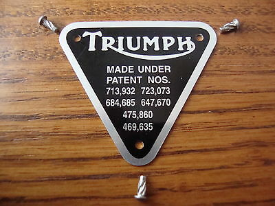 Triumph 500 650 750 timing cover patent plate, badge 70-4016 w/pins T120 TR6