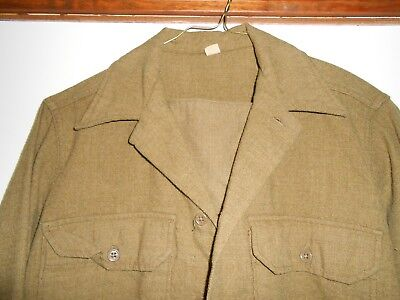 1940s Men's Shirts, Sweaters, Vests Vtg Men's WWII US Army Wool Dress Shirt sz S 14 x 32 WW2 1940s 40s S6 31A  $49.99 AT vintagedancer.com