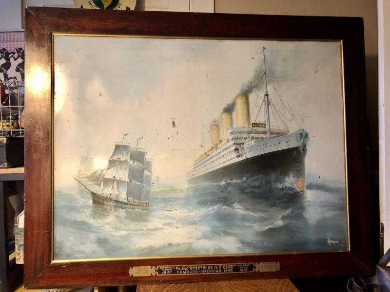1913 Hamburg America Line Tin Litho Tourism Sign, SS Imperator Steamship, Framed