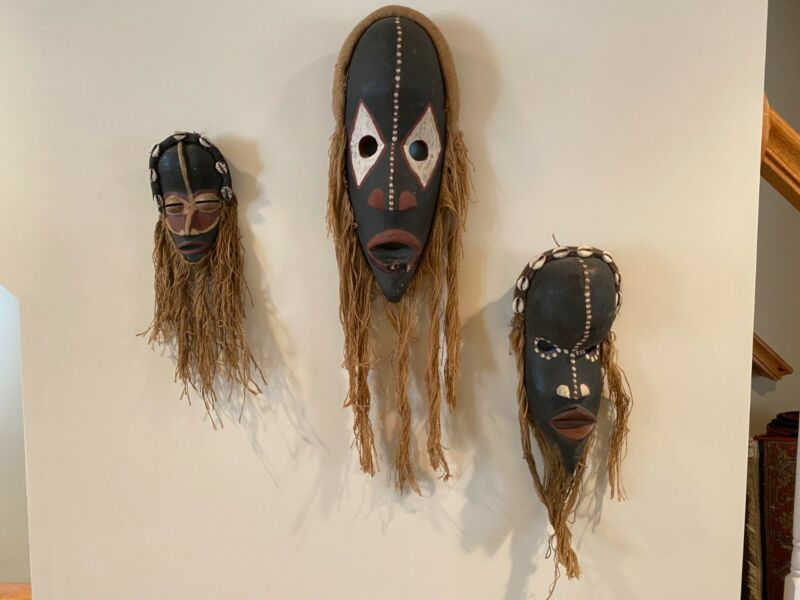 Set of Three African Tribal Masks With Cowrie Shell Decoration