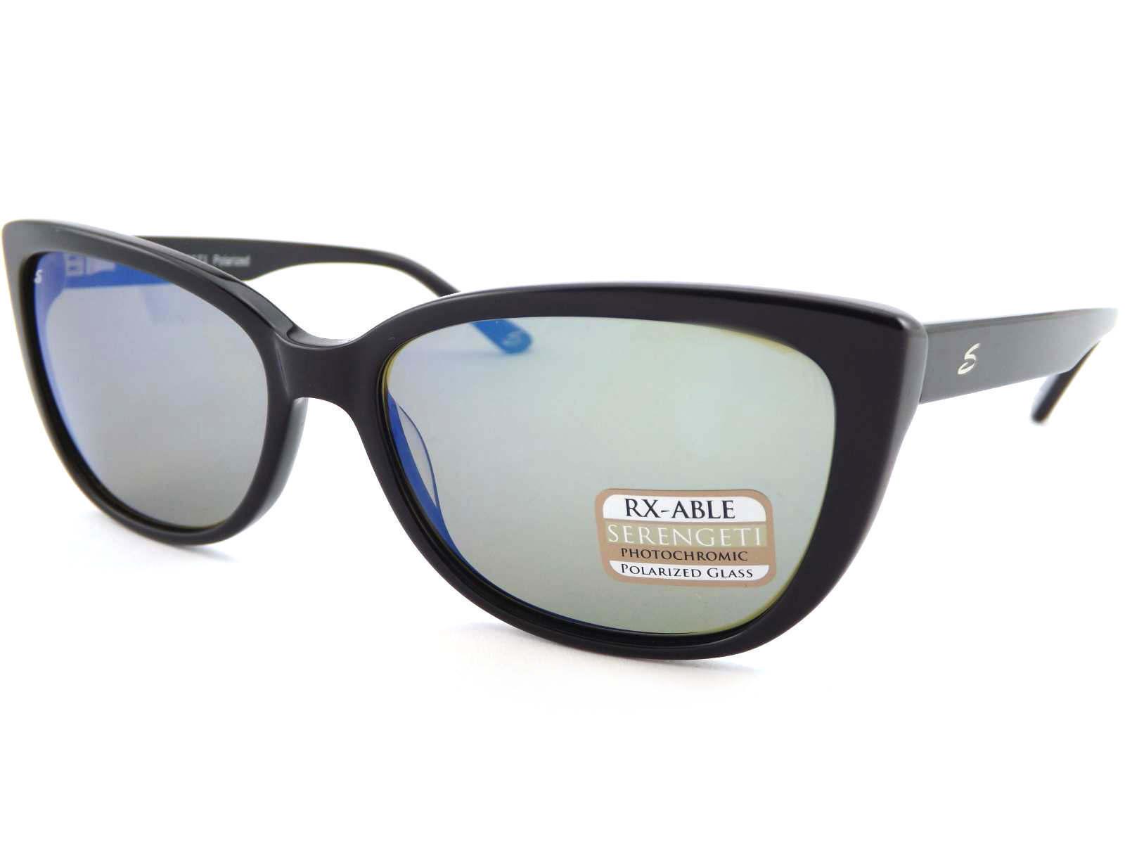 bd6dce8bf13 Details about SERENGETI womens SOPHIA polarized Sunglasses Shiny Black  555  Blue Mirror 8280