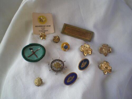 GIRL SCOUT Lot~ Mariners Pin~ Trefoil, Membership,Oath Pins~Artist Badge~ Etc.