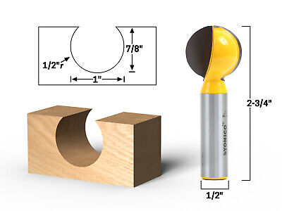 1 Diameter Ball End Grooving Router Bit - 12 Shank - Yonico 14074