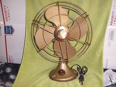 Antique Victor Electric Fan,3 Speed,Oscillating,Runs,but for parts only,Brass?