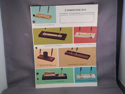 Parker Vintage l970 4 page desk set color catalog sheet