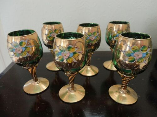 Bohemian Czech gilded floral green set of 6 sherry glasses