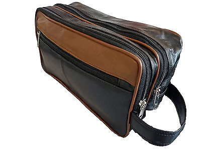 Leather Toiletry Wash Bag Toiletries Holiday Travel Washbag Washbags Mens Ladies