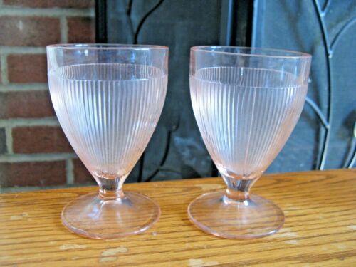 """Set of 6 Pink Depression Glass Ribbed & Stemmed 4"""" Juice Glasses"""
