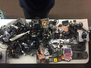 Untested Large retro lot of cords and controllers