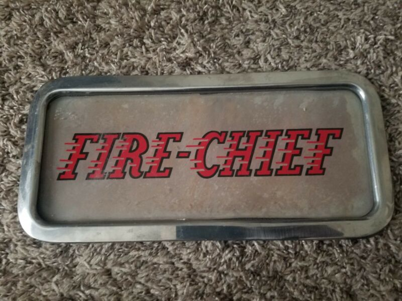 Vintage TEXACO FIRE CHIEF Gas Service Station Curved  framed Ad Glass Sign