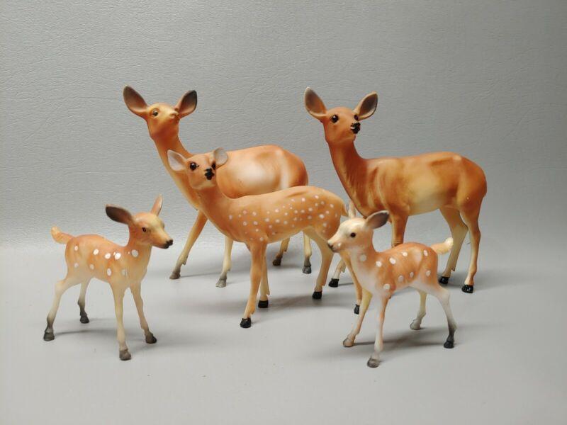 Vintage plastic deer doe figure lot Christmas decor