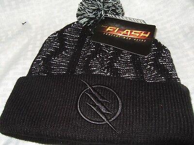 New Adult Black DC Comics The Flash Zoom Hero Reflective Pom Beanie Cap Ski Hat - Flash Hat