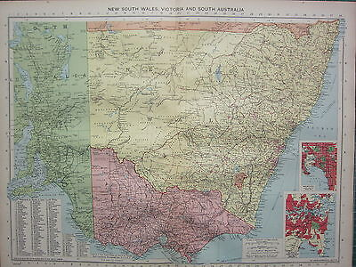 1940 MAP ~ NEW SOUTH WALES VICOTRAI & SOUTH AUSTRALIA MELBOURNE SYDNEY CITY PLAN