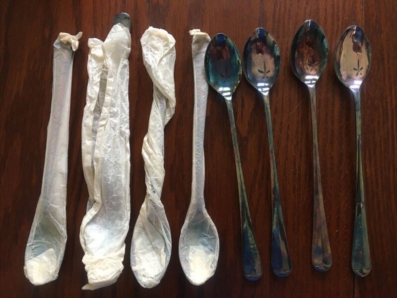 Kirk's Georgian Silver Guild A-1 Ice Tea Long Silver Plated Spoons Vtg Set Of 8