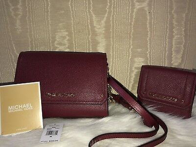 Michael Kors MULBERRY CROSSBODY MATCHING WALLET HAYES GOLD CHAIN SMALL NWT