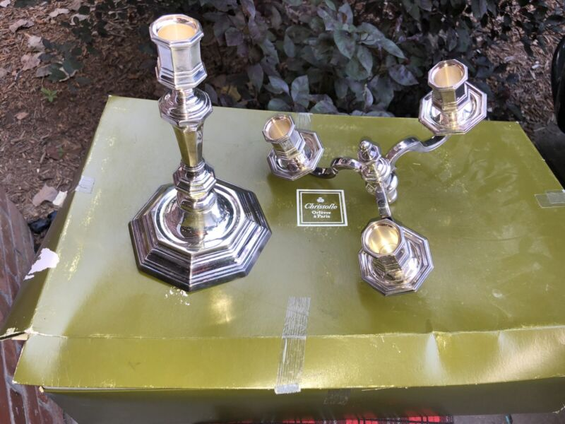 French Silverplate christofle Candelabra 3 Branches Lights w/ Box Orfevre Paris