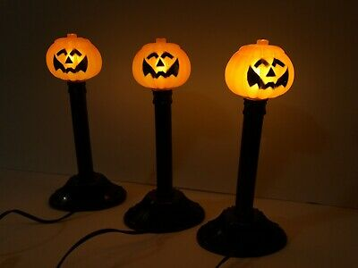 3 Vintage Halloween Blow Mold Pumpkin Jack-O-Lantern Candle Stick Lights