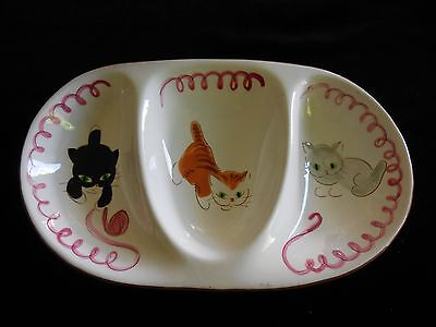 Vintage STANGL POTTERY KITTEN CAPERS Child's Three Part Dish SUPER CUTE!