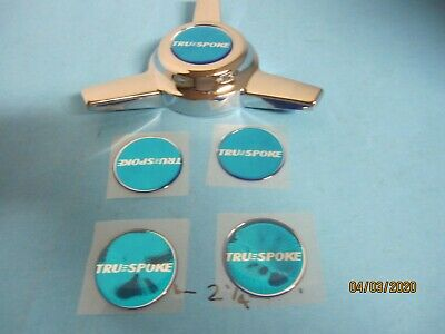 4  VINTAGE BLUE TRUE EMBLEMS FOR 3 BAR SPINNERS  1 3/4 DIAMETER