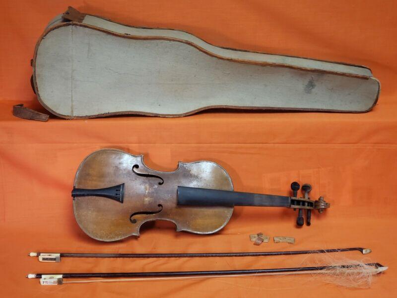 ANTIQUE VIOLIN with Bows & Case German? 19th Century Vintage String Instrument