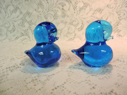 2 Glass Bluebird Paperweights - Unsigned