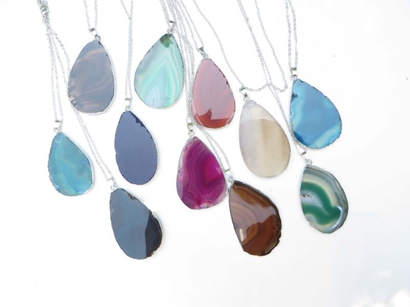 wholesale jewelry of 10 natural agate gemstone slice pendant necklaces