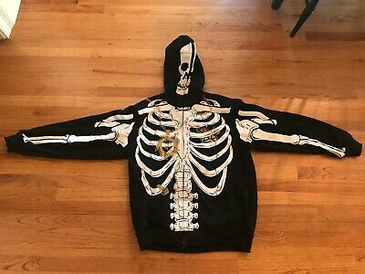 Halloween Skeleton Sweatshirt (Skeleton Long Sleeve Zipper Hooded Skeleton Sweatshirt Halloween)