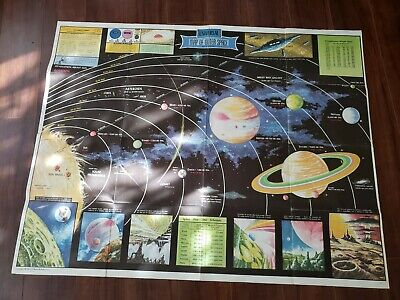 Vintage 1958 Universal Map Of Outer Space Rand McNally Planets 42 X 33