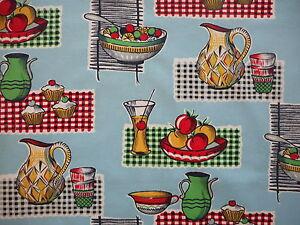 Unused vintage 50's cotton kitchen curtain fabric, 1M lengths, cakes, cocktails