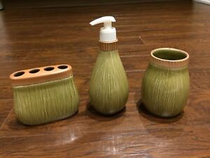 3 piece porcelain vanity/bathroom sink set (bamboo look)