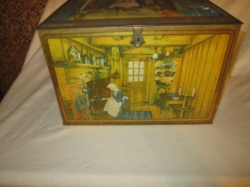 Vintage Canco Litho Kitchen Scenes Biscuit Tin Bread Box Nice!!!