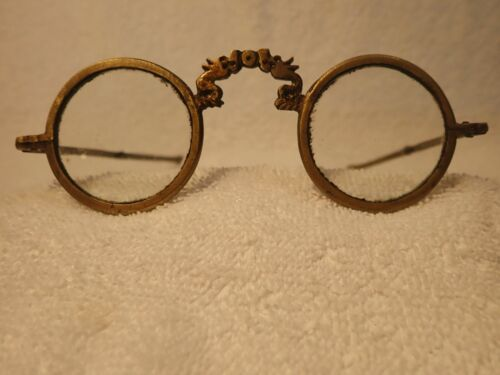 "CHINESE BRASS ROUND READING GLASSES WITH ""BAMBOO"" STYLE ARTICULATING TEMPLES!"